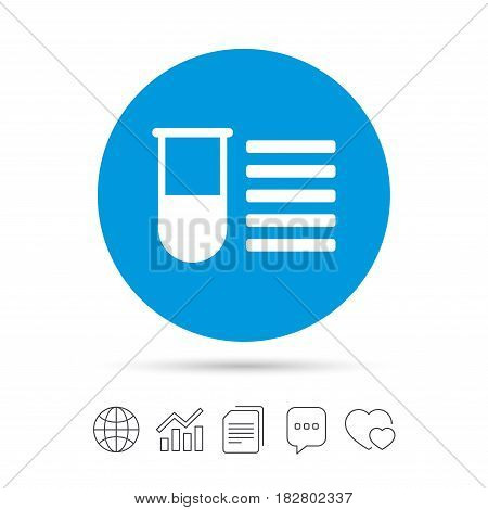 Medical test tube sign icon. Test list. Laboratory equipment symbol. Copy files, chat speech bubble and chart web icons. Vector