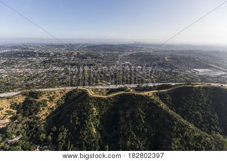 Aerial view of Eagle Rock in northeast Los Angeles, California.
