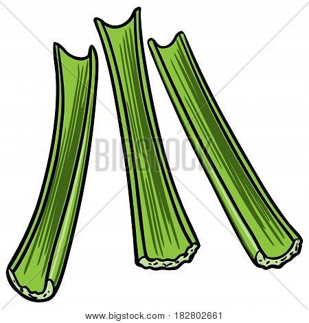 A vector illustration of some Celery sticks.