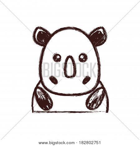 kawaii rhino animal icon over white background. vector illustration