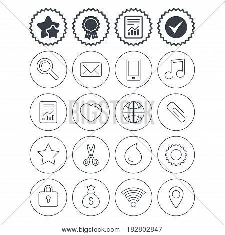 Report, check tick and award signs. Universal icons. Smartphone, mail and musical note. Heart, globe and share symbols. Paperclip, scissors and water drop. Best quality star symbol. Flat buttons