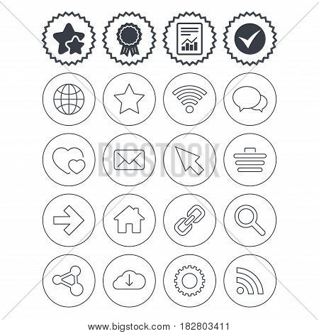 Report, check tick and award signs. Internet and Web icons. Wi-fi network, favorite star and internet globe. Hearts, shopping cart and speech bubbles. Share, rss and link symbols. Vector