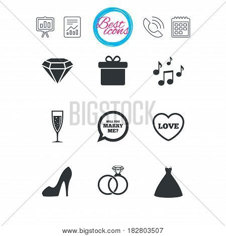 Presentation, report and calendar signs. Wedding, engagement icons. Rings, gift box and brilliant signs. Dress, shoes and musical notes symbols. Classic simple flat web icons. Vector