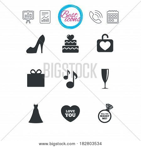 Presentation, report and calendar signs. Wedding, engagement icons. Cake with heart, gift box and brilliant signs. Dress, shoes and musical notes symbols. Classic simple flat web icons. Vector