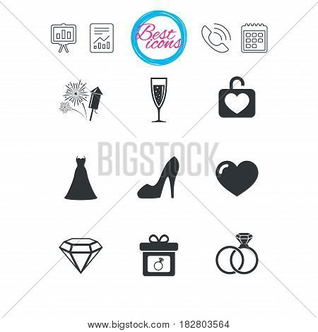 Presentation, report and calendar signs. Wedding, engagement icons. Locker with heart, gift box and fireworks signs. Dress, heart and champagne glass symbols. Classic simple flat web icons. Vector
