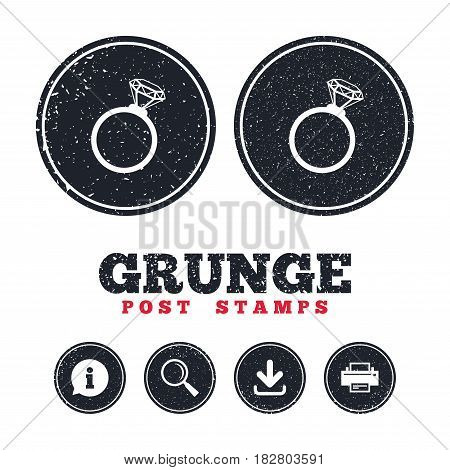 Grunge post stamps. Ring sign icon. Jewelry with diamond symbol. Wedding or engagement day symbol. Information, download and printer signs. Aged texture web buttons. Vector