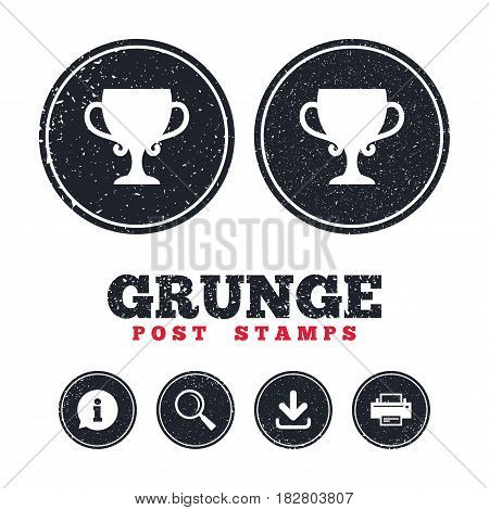 Grunge post stamps. Winner cup sign icon. Awarding of winners symbol. Trophy. Information, download and printer signs. Aged texture web buttons. Vector