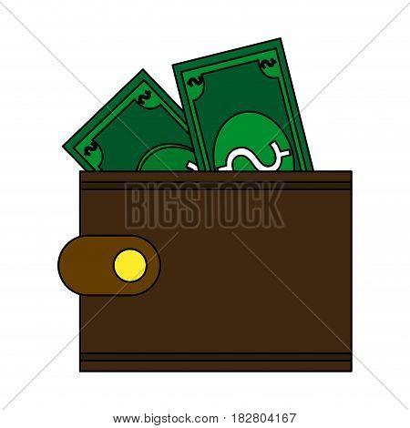 wallet with dollar bills icon image vector illustration design