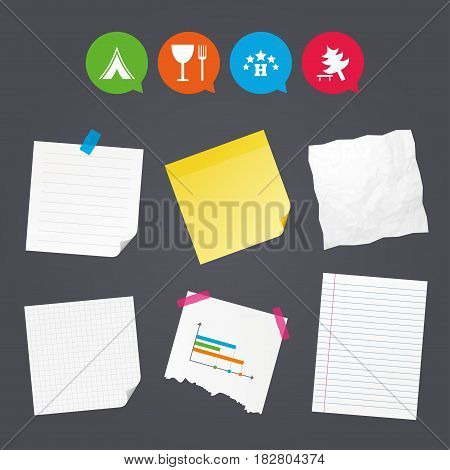 Business paper banners with notes. Food, hotel, camping tent and tree icons. Wineglass and fork. Break down tree. Road signs. Sticky colorful tape. Speech bubbles with icons. Vector