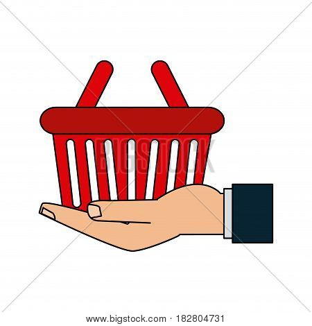 hand holding shopping basket icon image vector illustration design