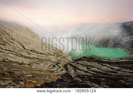 Crater of volcano Ijen. Java. Indonesia in the morning
