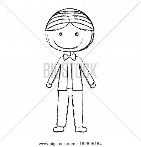 blurred silhouette caricature man in wedding suit with bowtie vector illustration