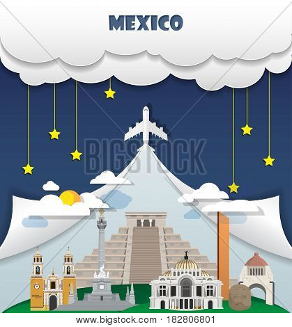 Mexico Travel Background Landmark Global Travel And Journey Infographic Vector Design Template. Illu