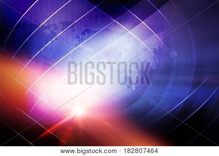 Abstract Digital World News Background with Lens Effect. 3d Illustration 3d Render