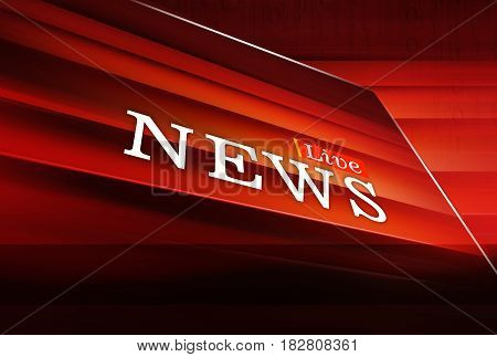Graphical Live News Background Red Theme Background. 3d Illustration 3d Render
