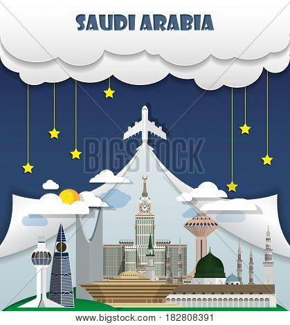 Saudi Arabia Travel Background Landmark Global Travel And Journey Infographic Vector Design Template