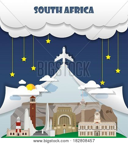 South Africa Travel Background Landmark Global Travel And Journey Infographic Vector Design Template