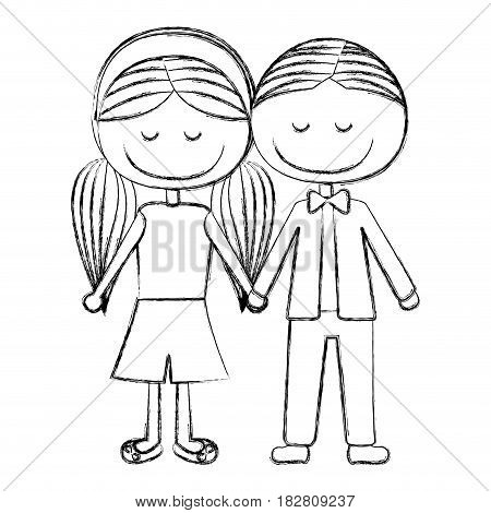 blurred silhouette caricature boy short hair and girl pigtails hairstyle with taken hands vector illustration
