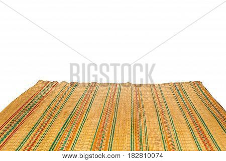 Colorful Bamboo Mat Isolated on White Background