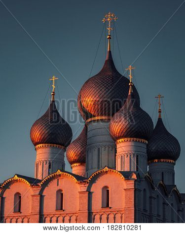 Russian orthodox church top at red sunset light
