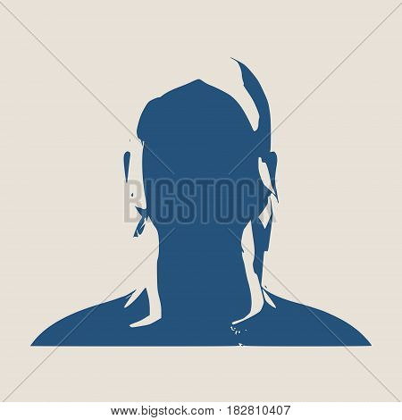 Face profile view. Elegant silhouette of a female head. Vector Illustration. Long curly hair. Monochrome gamma.