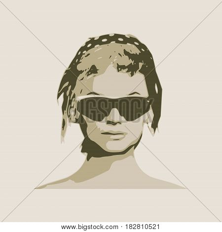 Portrait of beautiful woman in black sunglasses. Short hair. Vector version. Front view