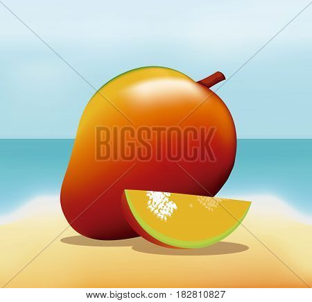 mango fruit fresh harvest - beach background vector illustration eps 10