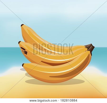 banana fruit fresh harvest - beach background vector illustration eps 10