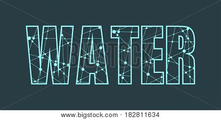 Water word lettering. Inspiration graphic design typography element. Cute simple vector sign. Thin line art style design