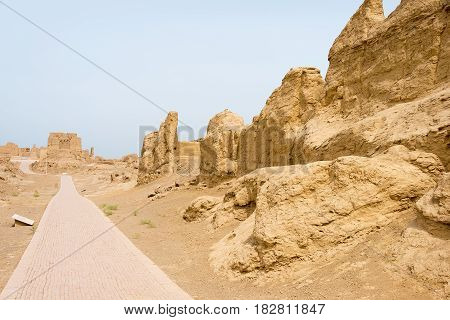 Xinjiang, China - May 04 2015: Site Of Yar City (jiaohe Ruins). A Famous World Heritage Sites In Tur