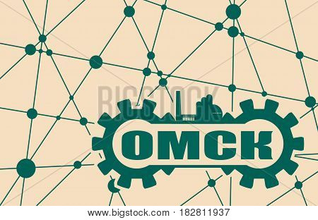 Russian city name build in gear. Heavy industry relative image. Molecule And Communication Background. Brochure or report design template. Russian translation of the inscription: Omsk.