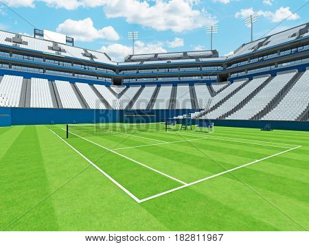 3D Render Of Beautiful Large Modern Tennis Grass Court Stadium With White Chairs