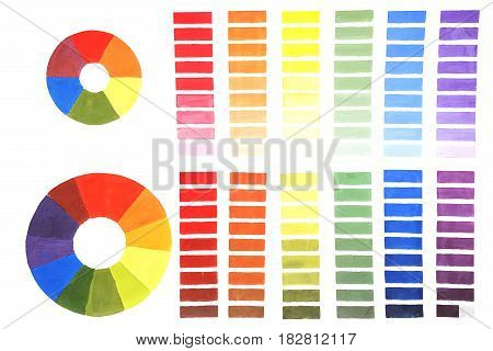 The color wheel. The concept of color mixing. Change the color lightness and saturation change. Crib artist.