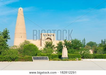 XINJIANG, CHINA - May 03 2015: Emin Minaret(Sugongta). a famous historic site in Turpan, Xinjiang, China.