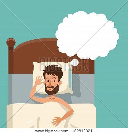 cartoon bearded man sleeping dream shirtless bed vector illustration eps 10