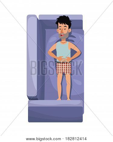 character man with heart pajama sleep relax in sofa vector illustration eps 10