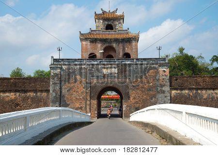 HUE, VIETNAM - JANUARY 07 2016: Ancient fortress gates of the citadel of Hue City