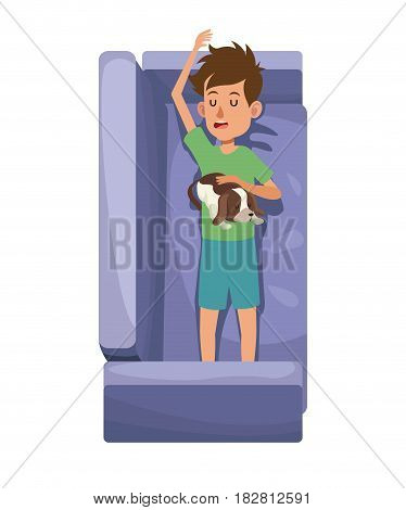 character boy resting sofa with her doggy pet vector illustration eps 10