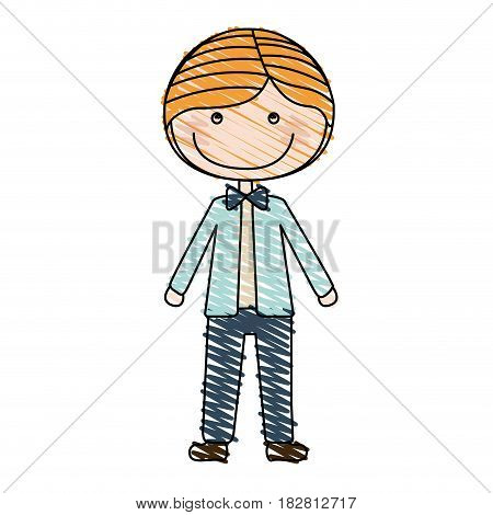 color pencil drawing of caricature blonded guy with jacket and pants vector illustration
