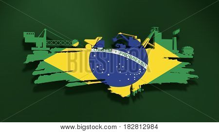 Energy and Power icons set and grunge brush stroke. Coal mining relative image. 3D rendering. Flag of the Brazil