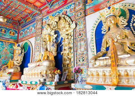 Inner Mongolia, China - Aug 13 2015: Budda Statues At Five Pagoda Temple(wutasi). A Famous Historic