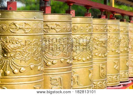 Inner Mongolia, China - Aug 13 2015: Prayer Wheel At Xilitu Zhao Temple(shiretu Juu). A Famous Histo