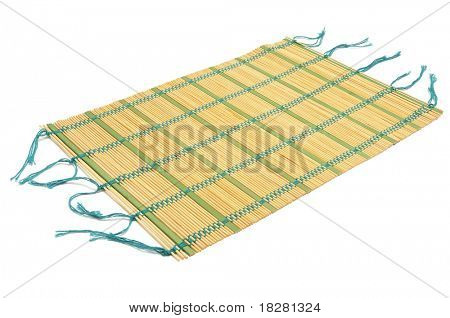 a makisu, a japanese bamboo mat, on a white background poster