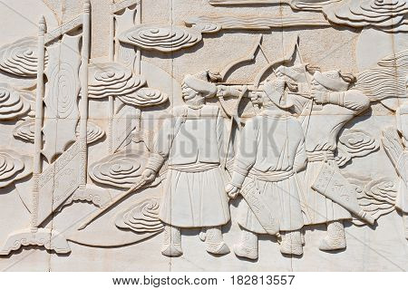 Inner Mongolia, China - Aug 10 2015: Relief At Kublai Square In Zhenglan Banner, Xilin Gol, Inner Mo