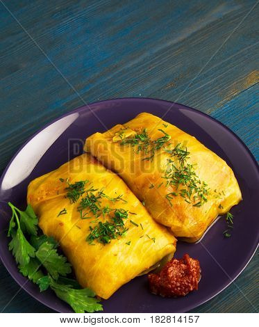 Cabbage Rolls On A Plate. Cabbage Rolls Top View