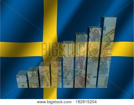 Currency graph on rippled Swedish flag 3d illustration