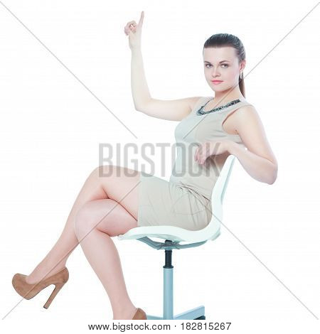 Picture of young businesswoman sitting in chair .