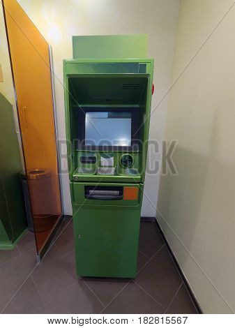 Cash dispenser green is ready for work