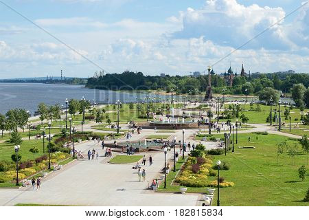YAROSLAVL, RUSSIA - JULY 10, 2016: the Arrow of the rivers Volga and Kotorosl a Sunny day in July. Top view
