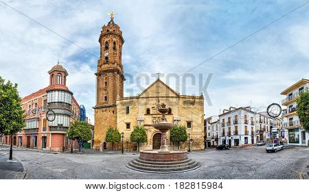 Panorama of San Sebastian square with Iglesia de San Sebastian in Antequera Malaga province Spain
